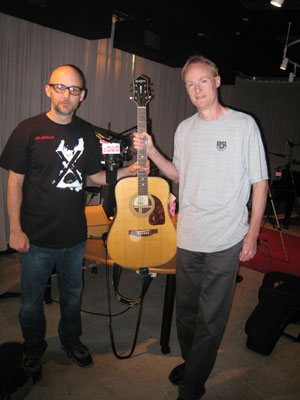 John Schaefer and Moby with the guitar Moby left behind