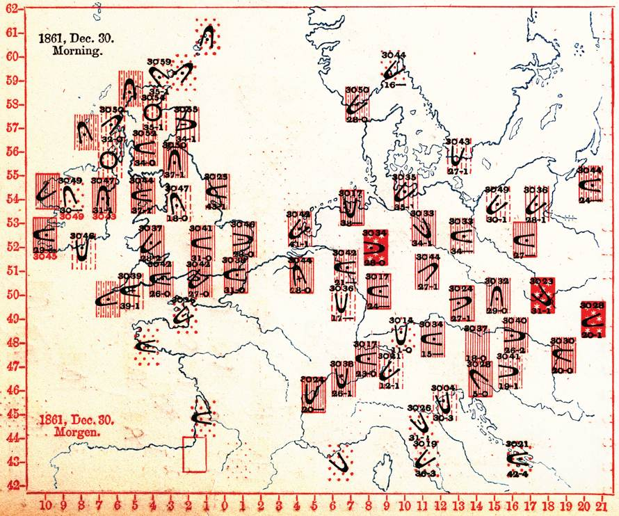 Sir Francis Galton's map of weather data collected across Europe the morning of Dec. 30 1861.