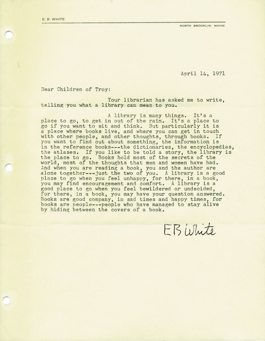 american library the morning news letter from author e b white to marguerite hart the first children s librarian at the troy public library in troy ny in 1971 hart contacted a number of