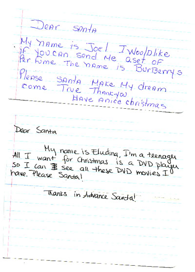 Two Christmas notes that were sent to our PO Box